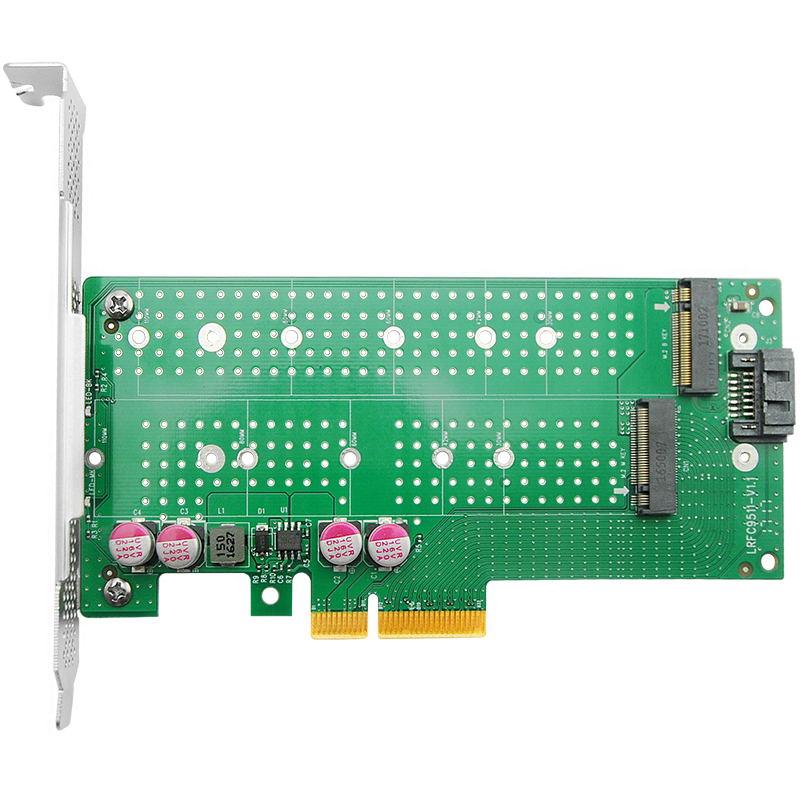 LRNV9511 PCIe x4 转 单口M.2 NVMe + 单口M.2 SATA